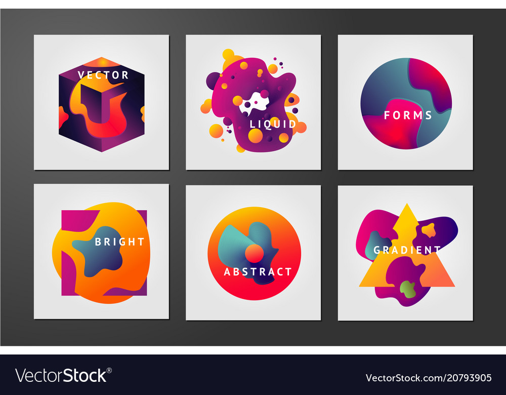 Minimal backgrounds set liquid shapes abstract