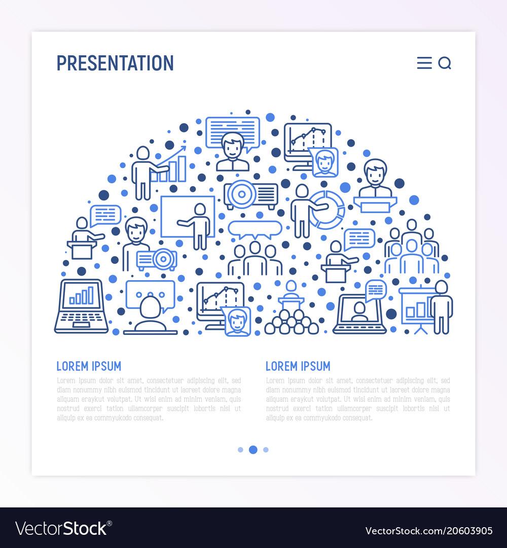 Presentation concept in half circle vector image