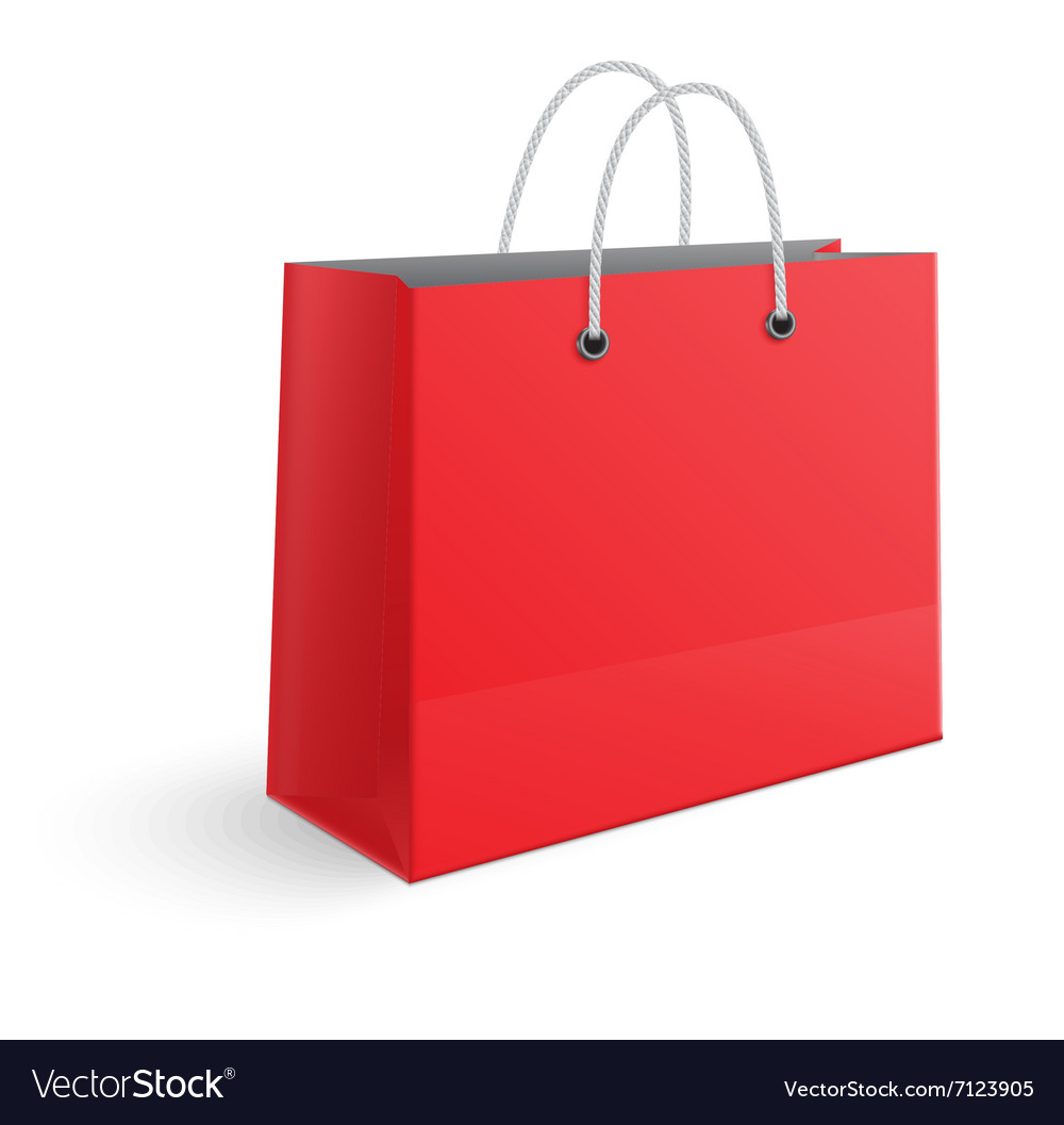 Red paper shopping bag isolated