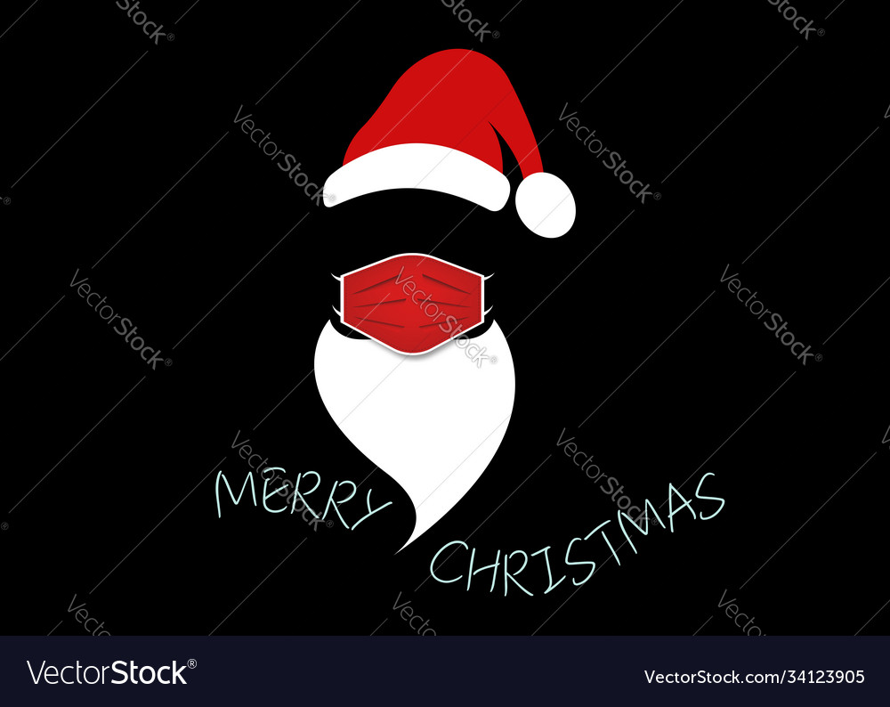 Santa claus head label with surgical mask isolated
