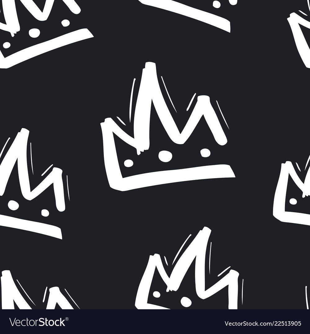 Seamless pattern with hand drawn crown on black