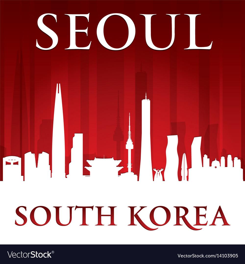 Seoul south korea city skyline silhouette red