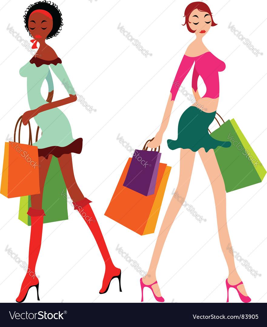 Shopping women vector image