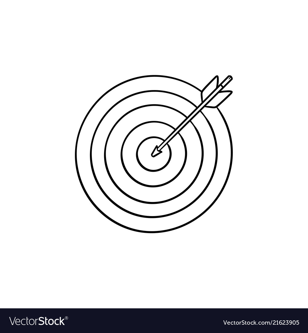Target with arrow hand drawn outline doodle icon
