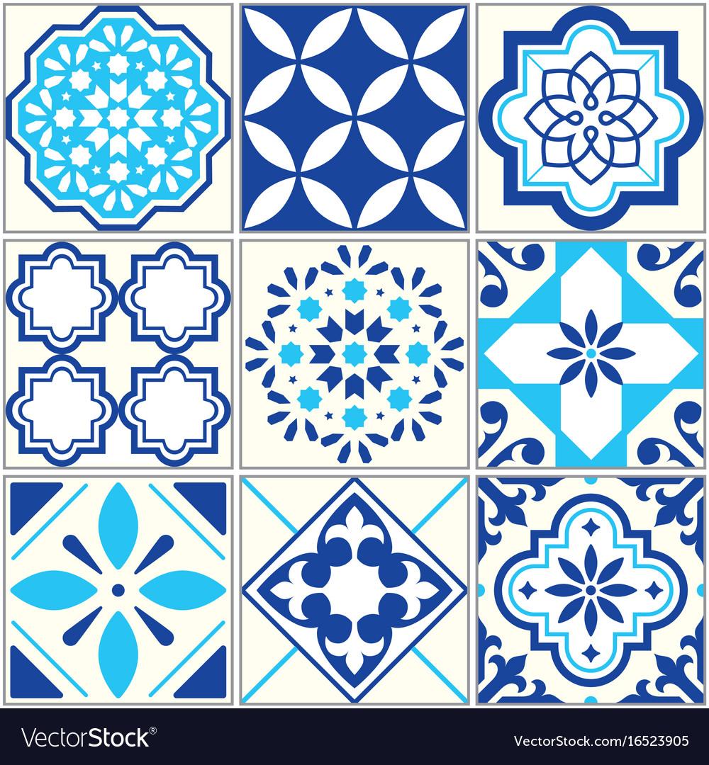 Tiles blue pattern lisbon floral mosaic Royalty Free Vector