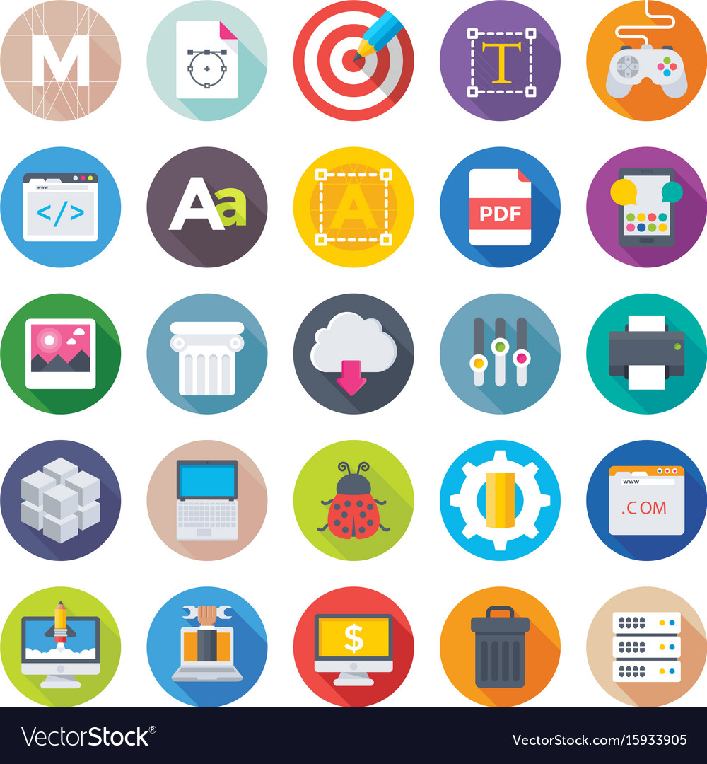 Web Design And Development Icons 2 Royalty Free Vector Image