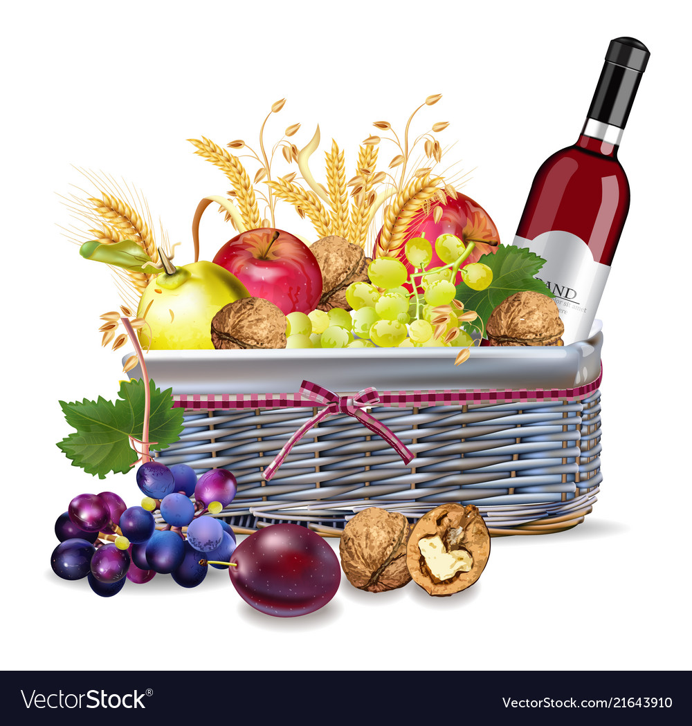 Basket with wine bottle and fruits