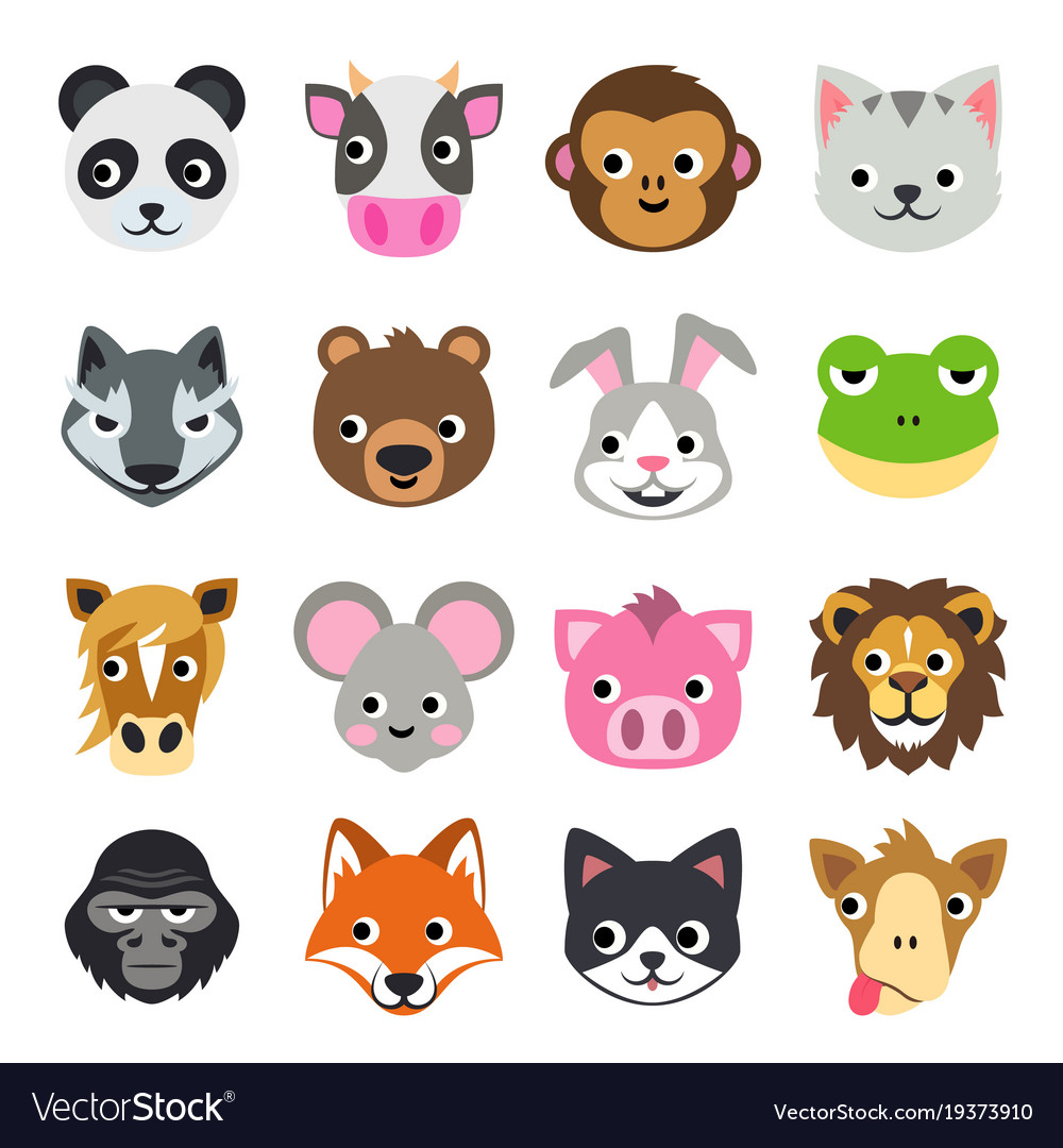 Face funny animal cartoon icon
