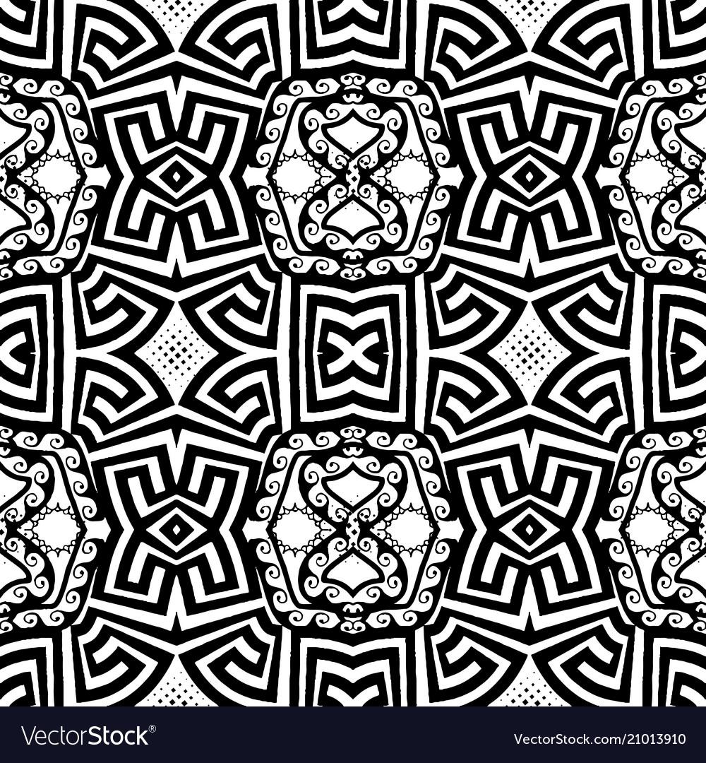 Ornaamental black and white greek seamless vector image