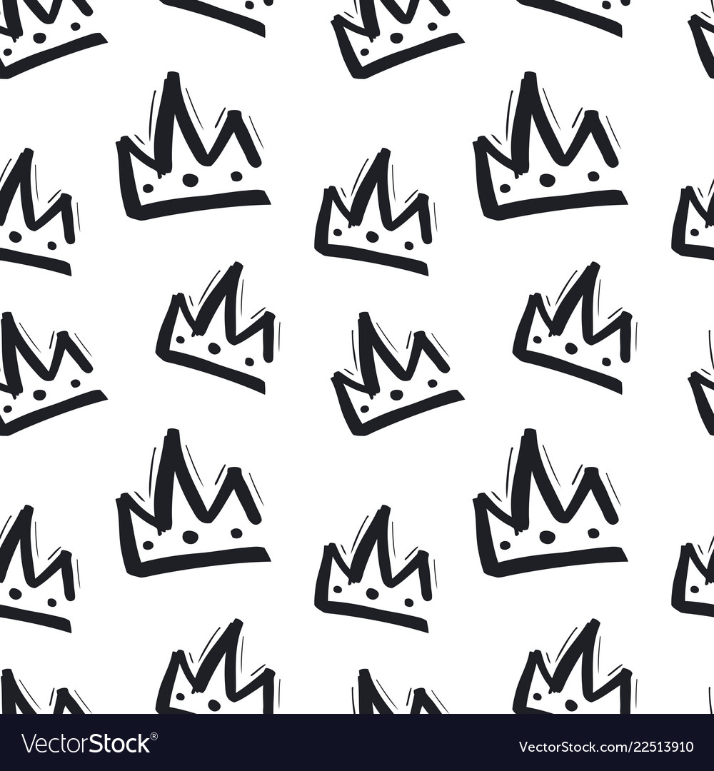 Seamless pattern with hand drawn crown on white