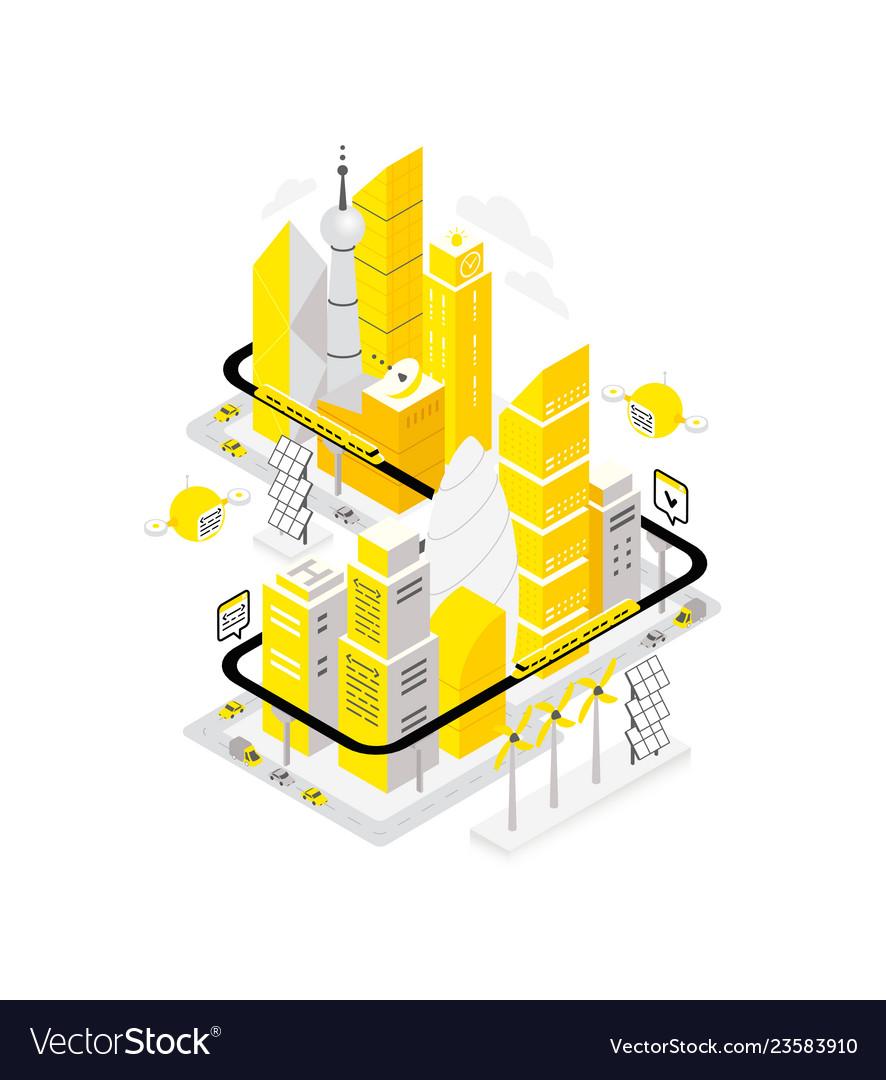 Smart city data infrastructure center isometric