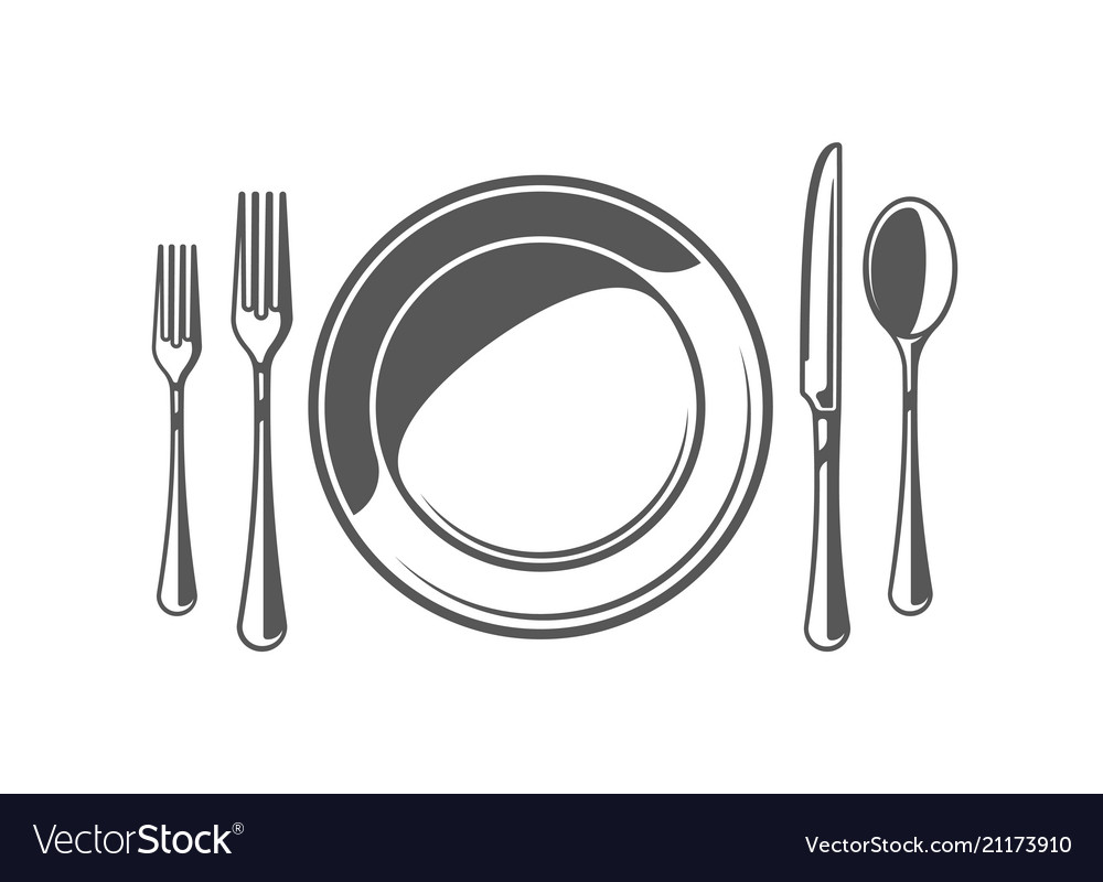 Spoon fork knife and plate isolated on white bac vector image