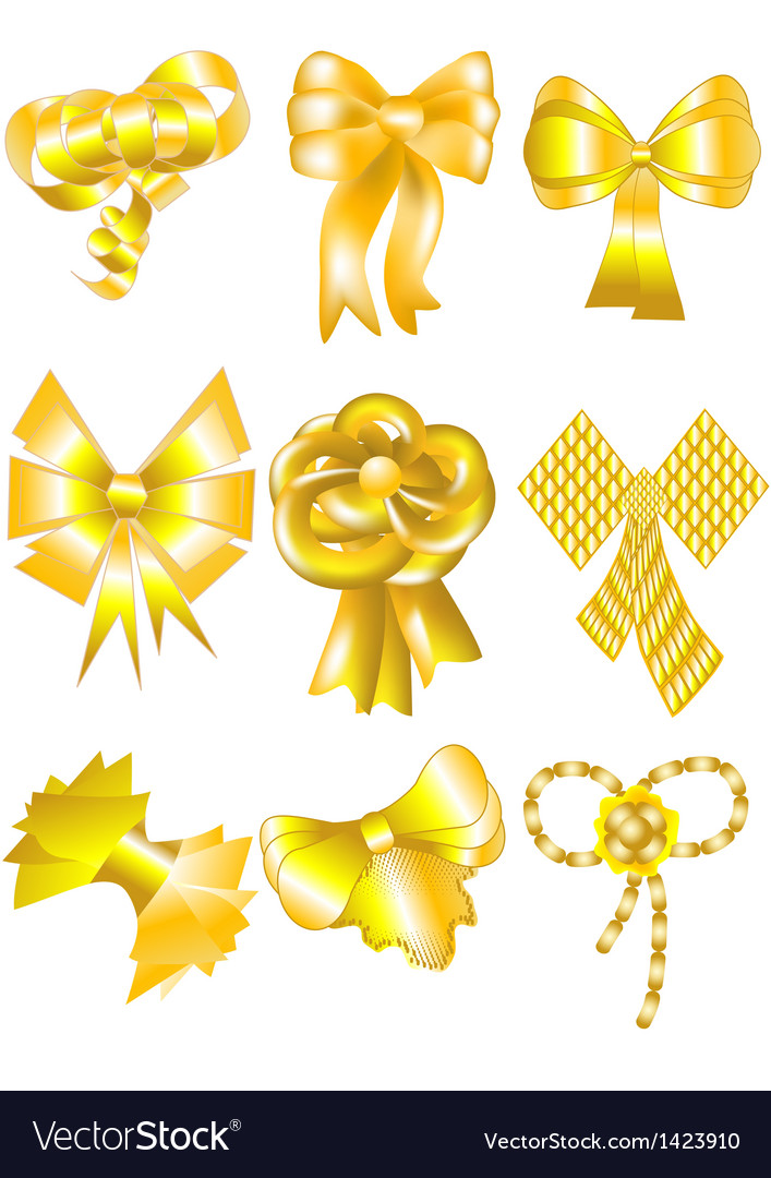 Unusual gold bows vector image