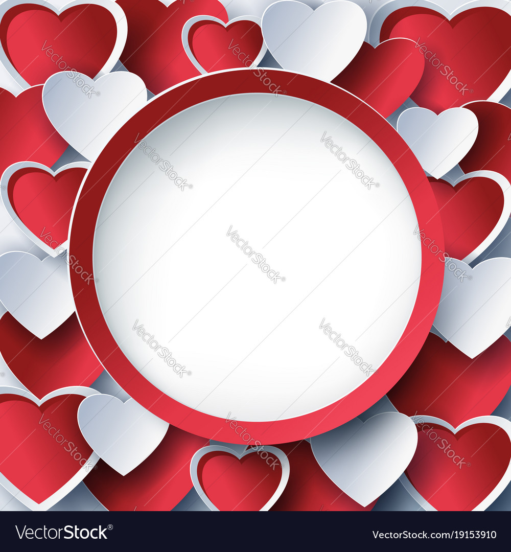 Valentine round frame with 3d red heart Royalty Free Vector