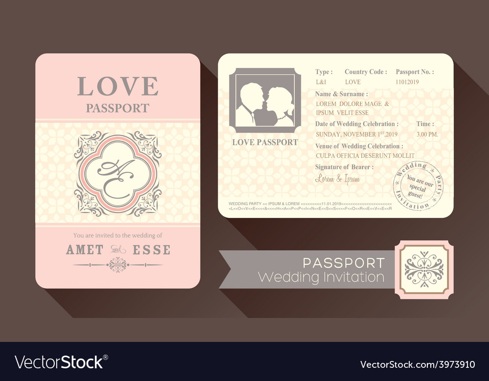 Vintage Visa Passport Wedding Invitation card
