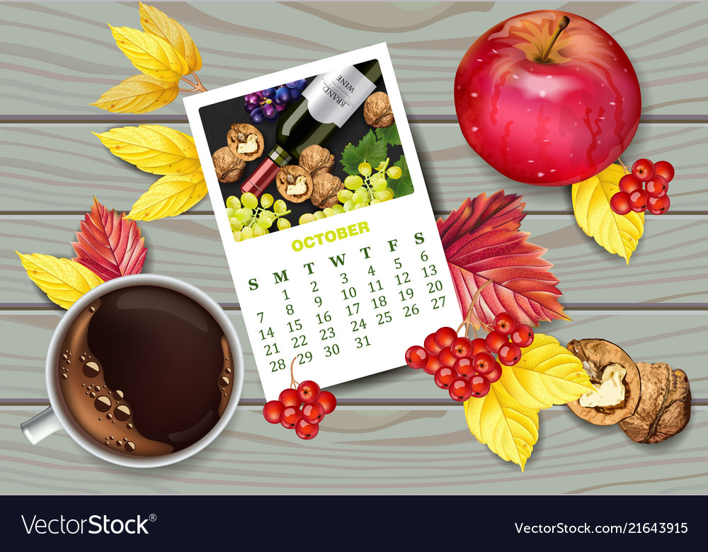 Autumn calendar page and cup of coffee