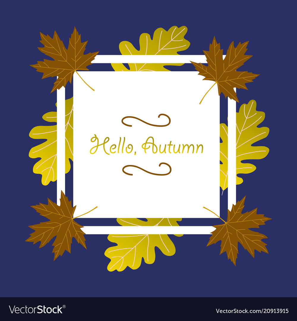 hello autumn lettering on a colorful leaves