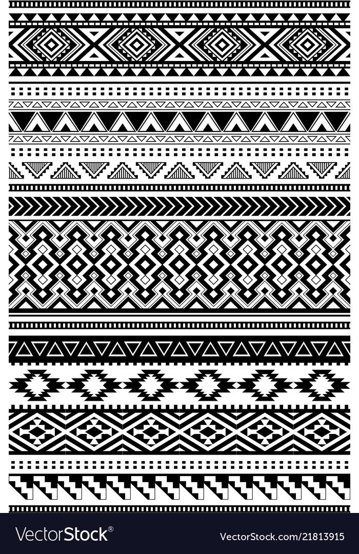 Aztec and amazon ethnic patterns set of 12 items