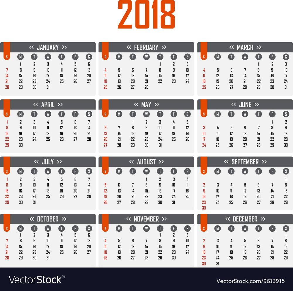 Calendar for 2018 Week starts on Sunday