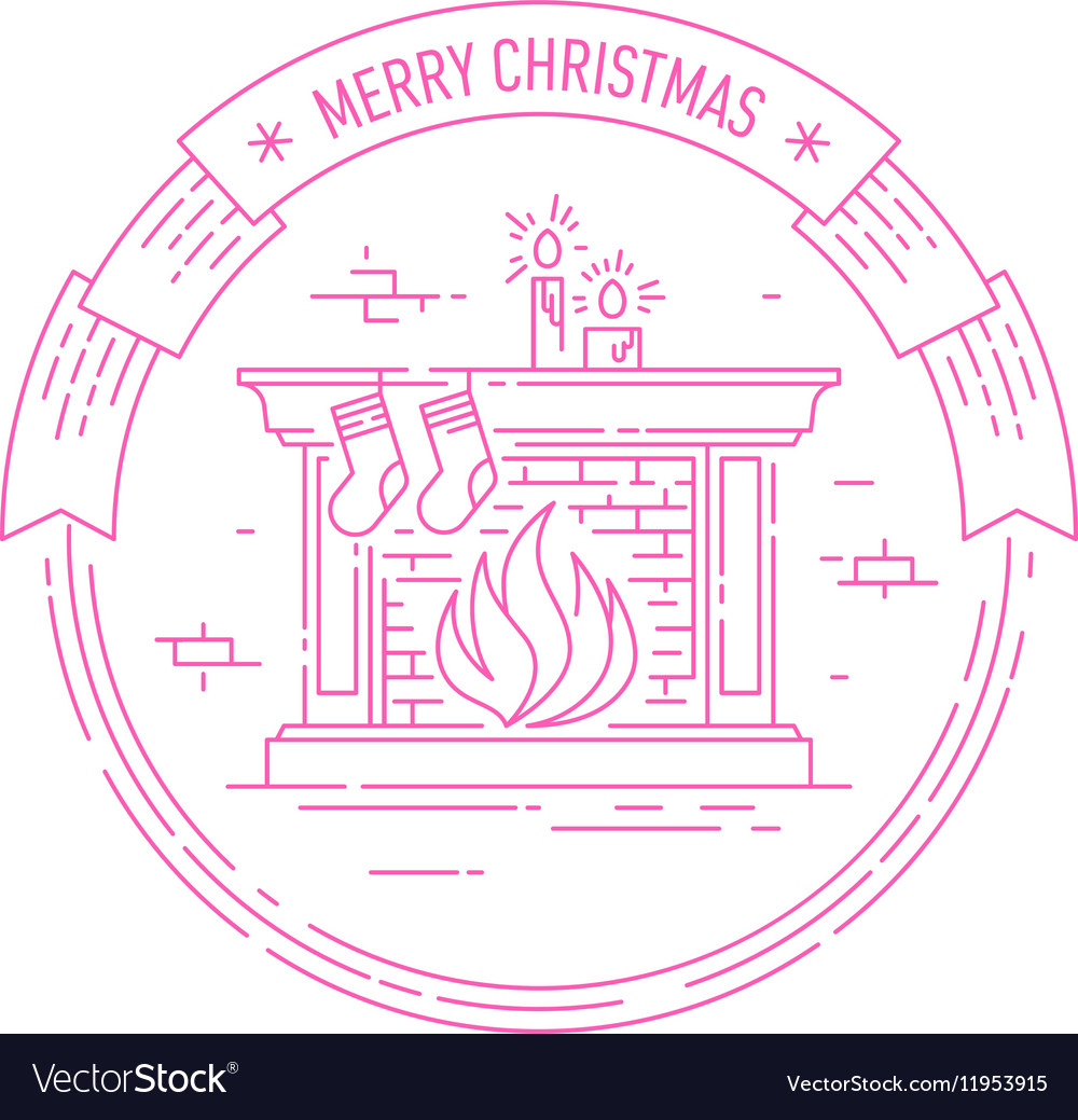 Christmas and Happy New Year badge with fireplace
