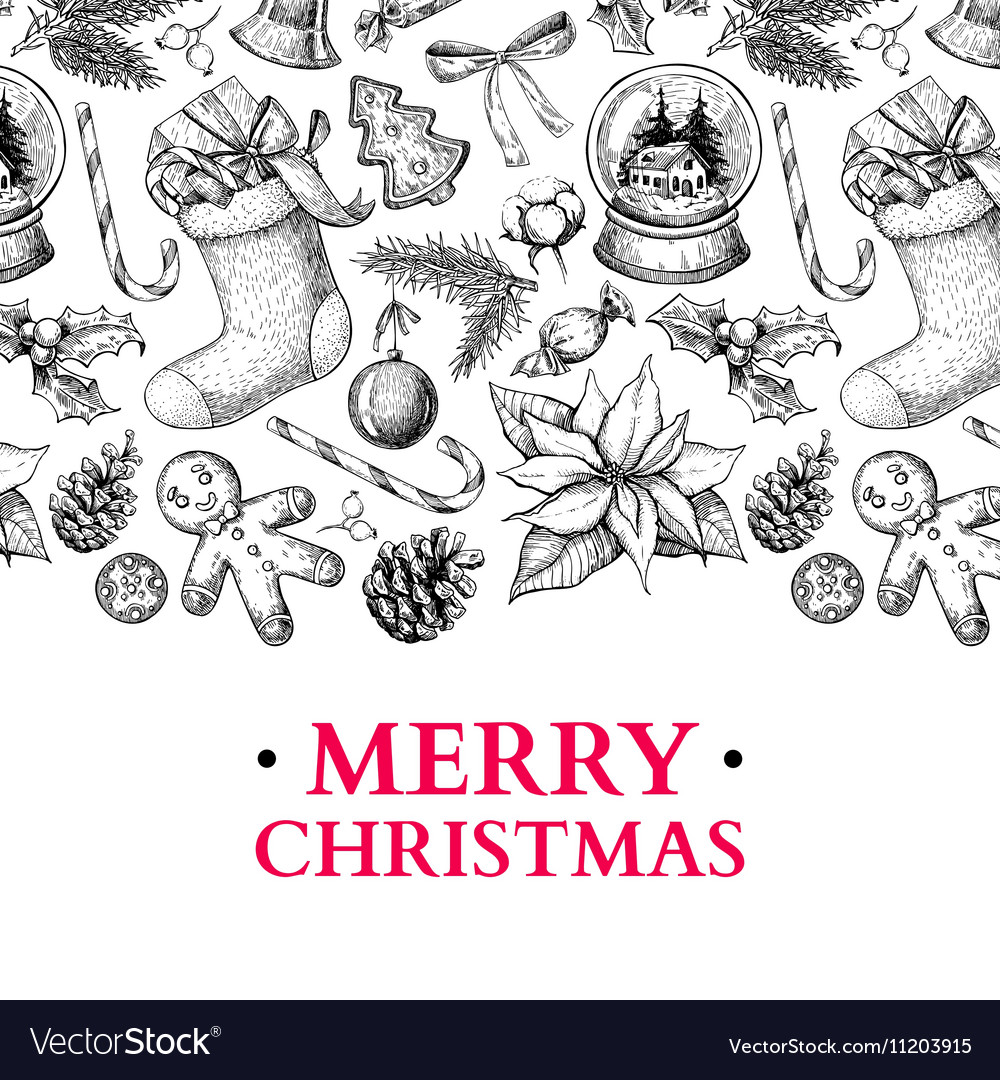 Christmas holiday greeting card hand drawn