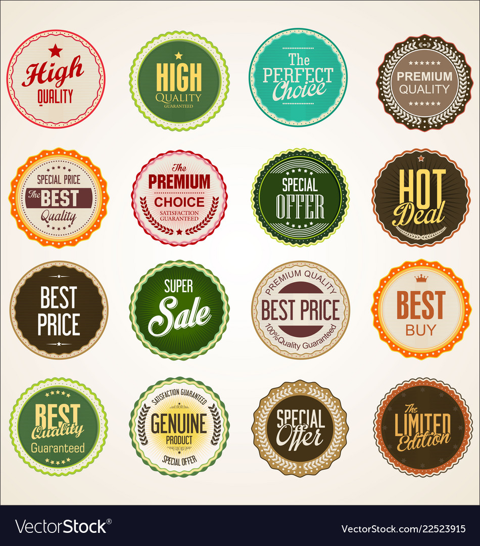 Collection of colorful badge and labels retro