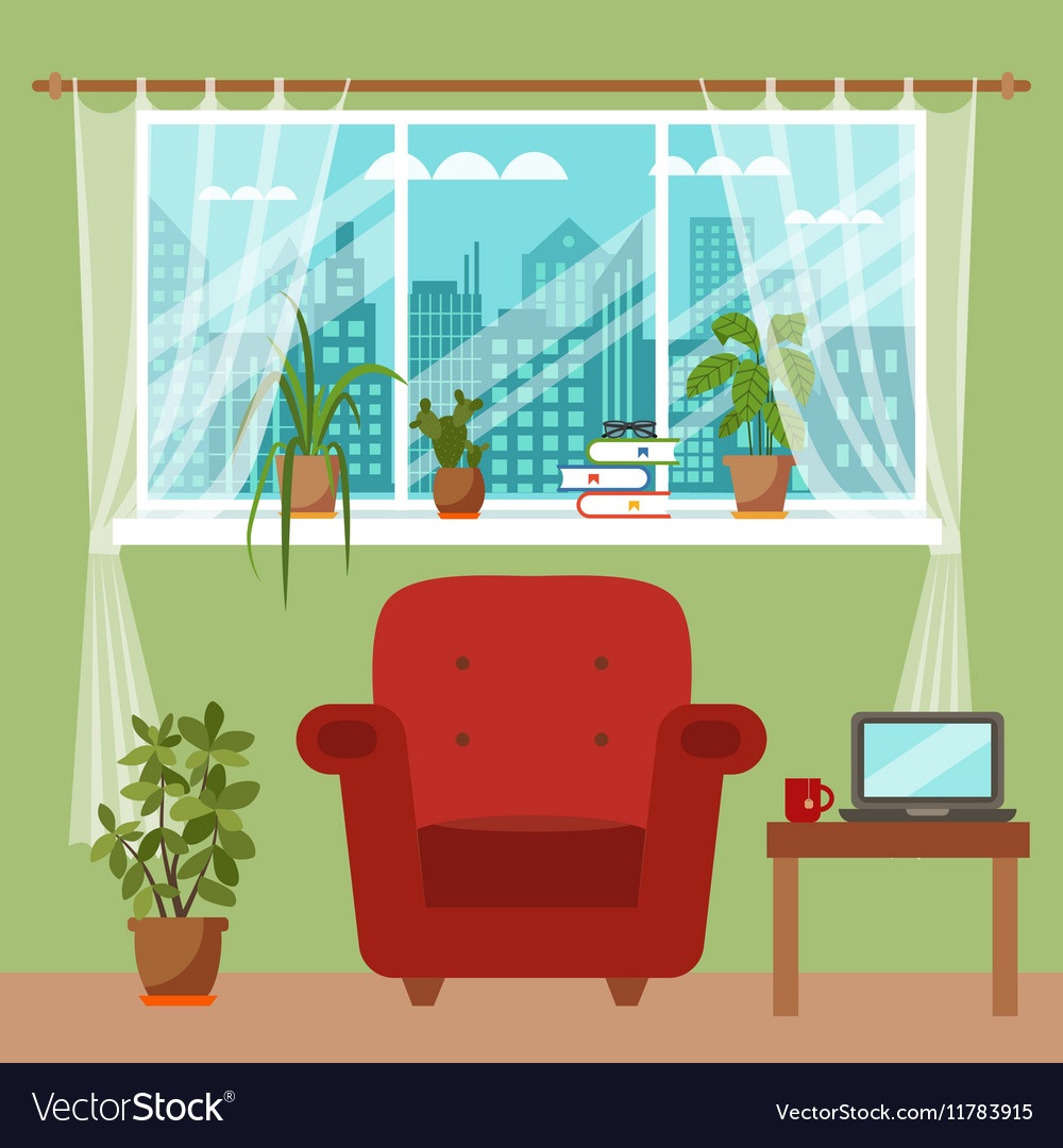 Superieur Colorful Office Desk With Indoor Plants Vector Image