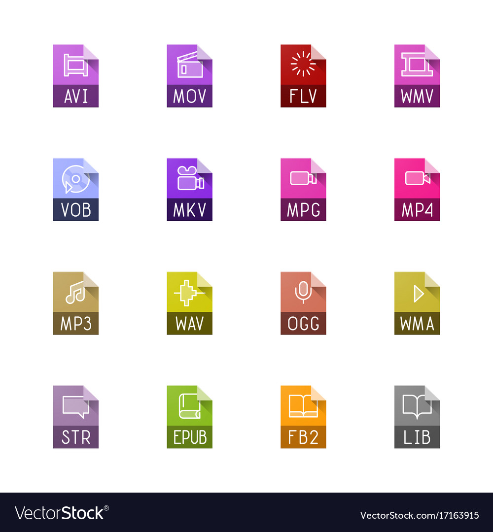 File type icons - video sound and books