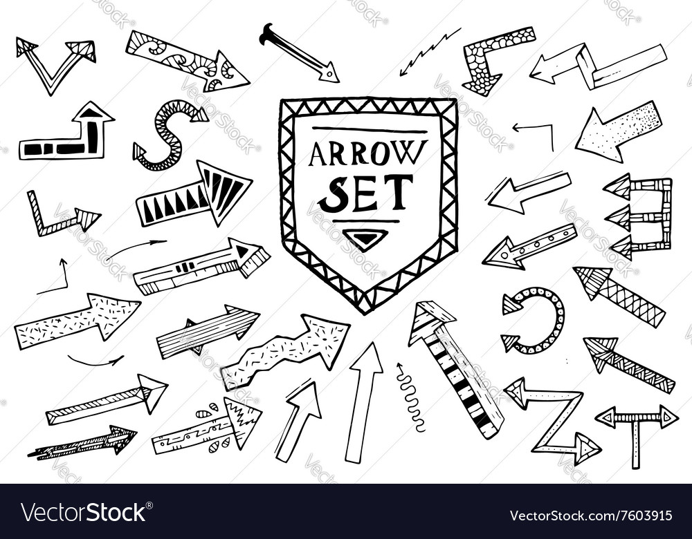 Hand drawn arrow icons set isolated on white