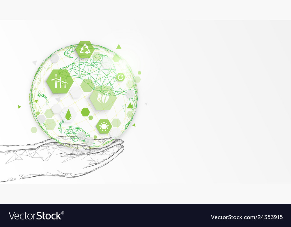 Hand holding globe ecology concept background
