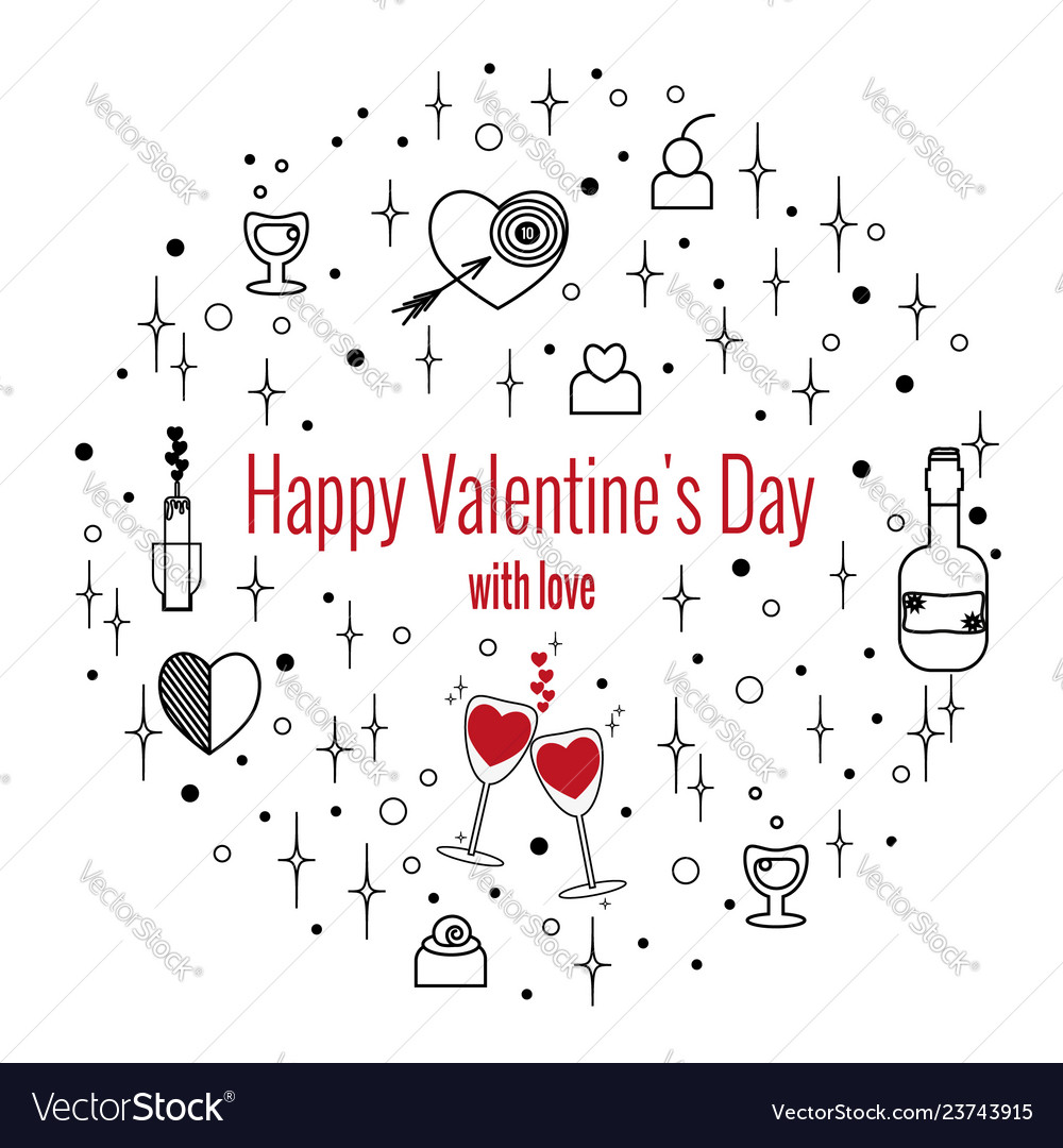 Happy valentines day greeting card in circle