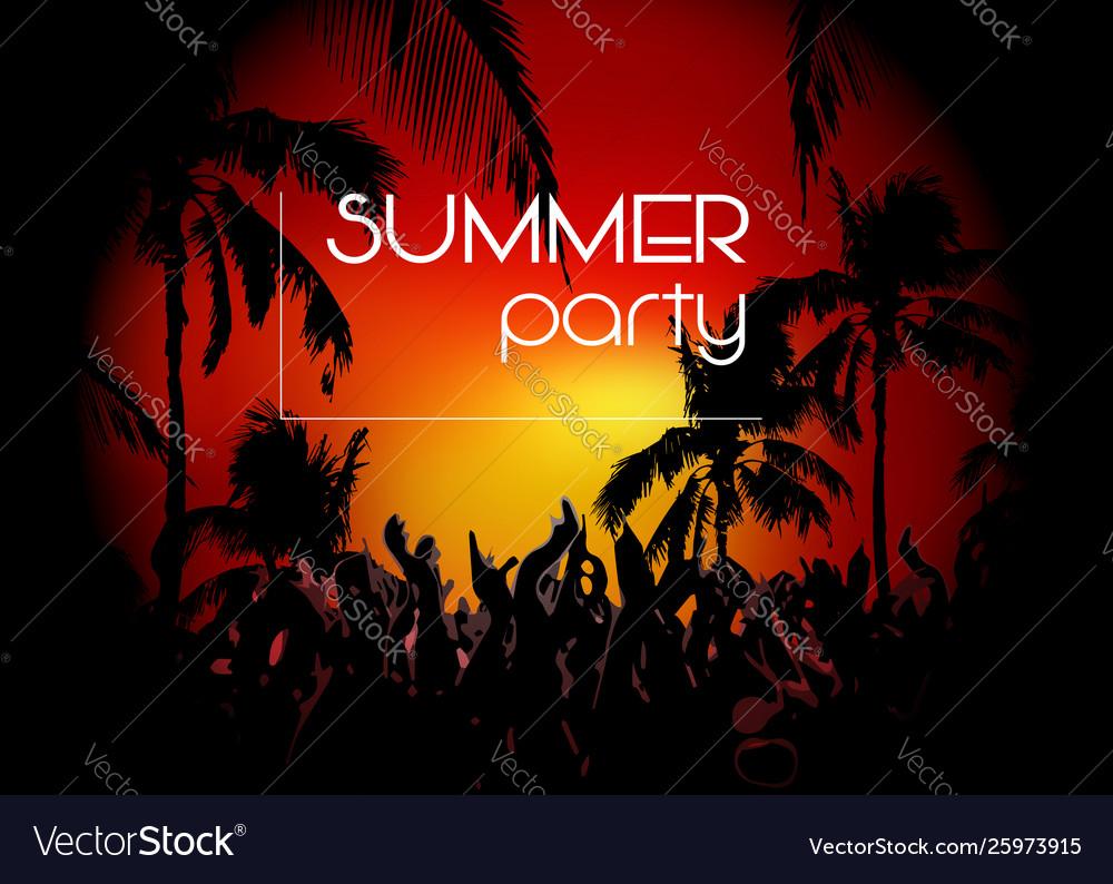 Hello summer beach party flyer disco party