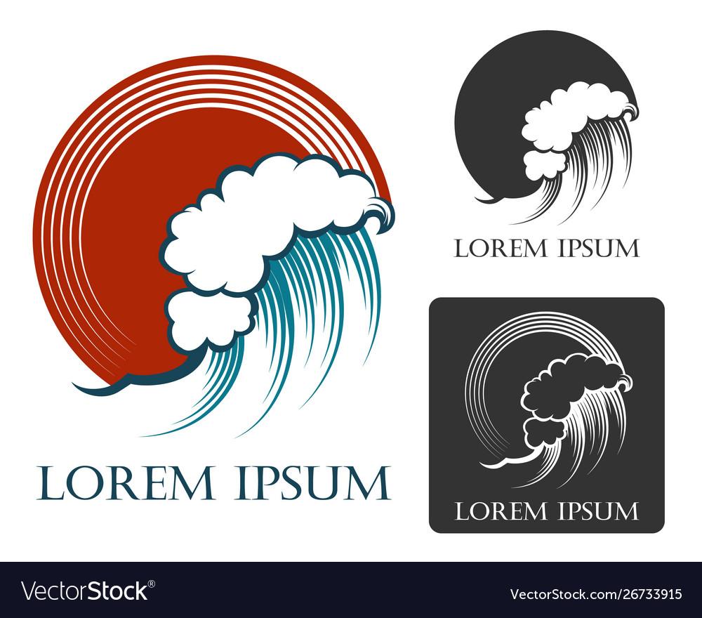 Ocean wave emblem in engraving style