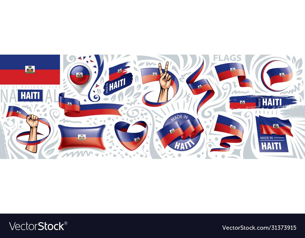 Set national flag haiti