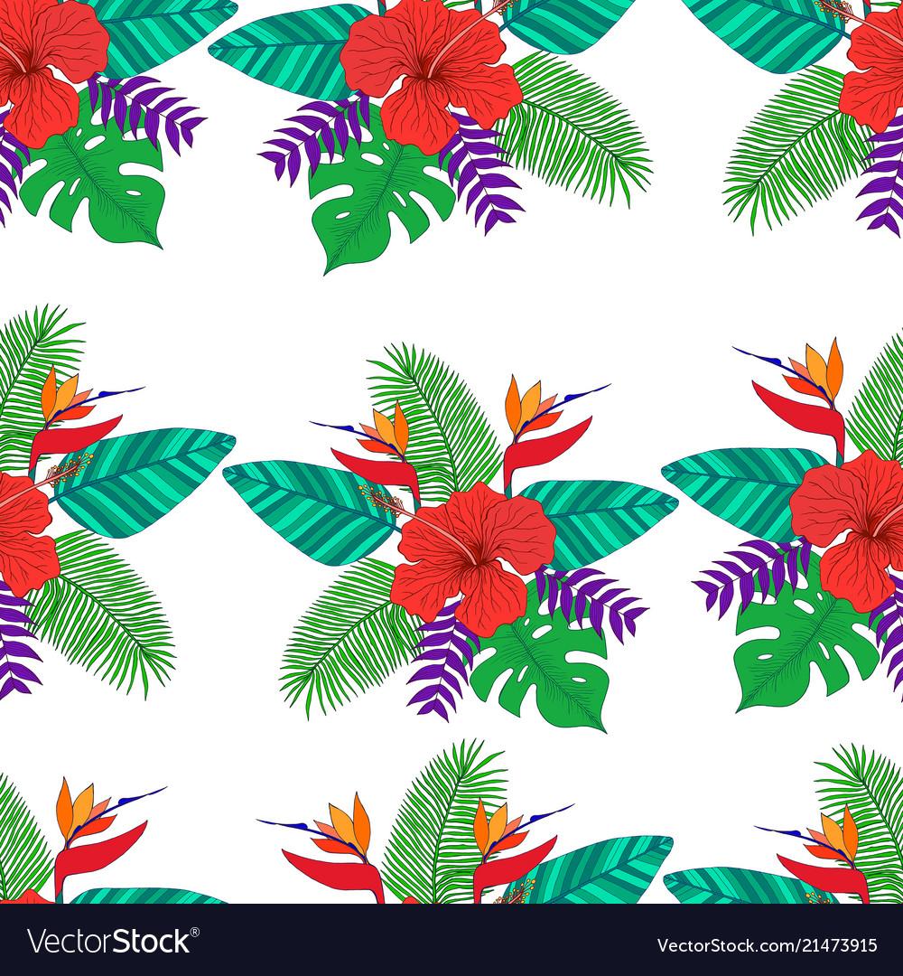 Tropical leaf palm flower hibiscus bird