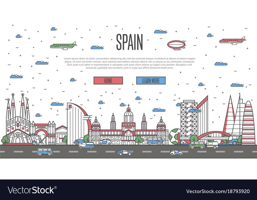 Barcelona skyline with national famous landmarks