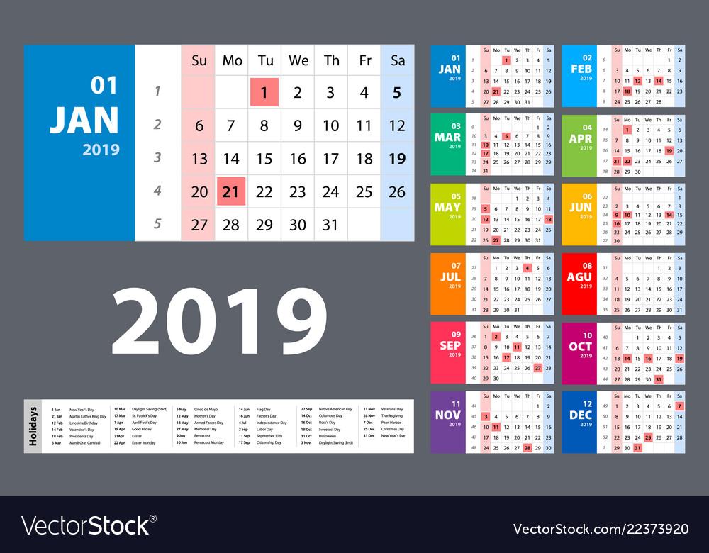 Calendar 2019 colorful set week starts on sunday