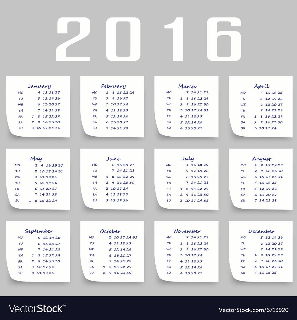 Calendar for 2016 Week Starts Monday