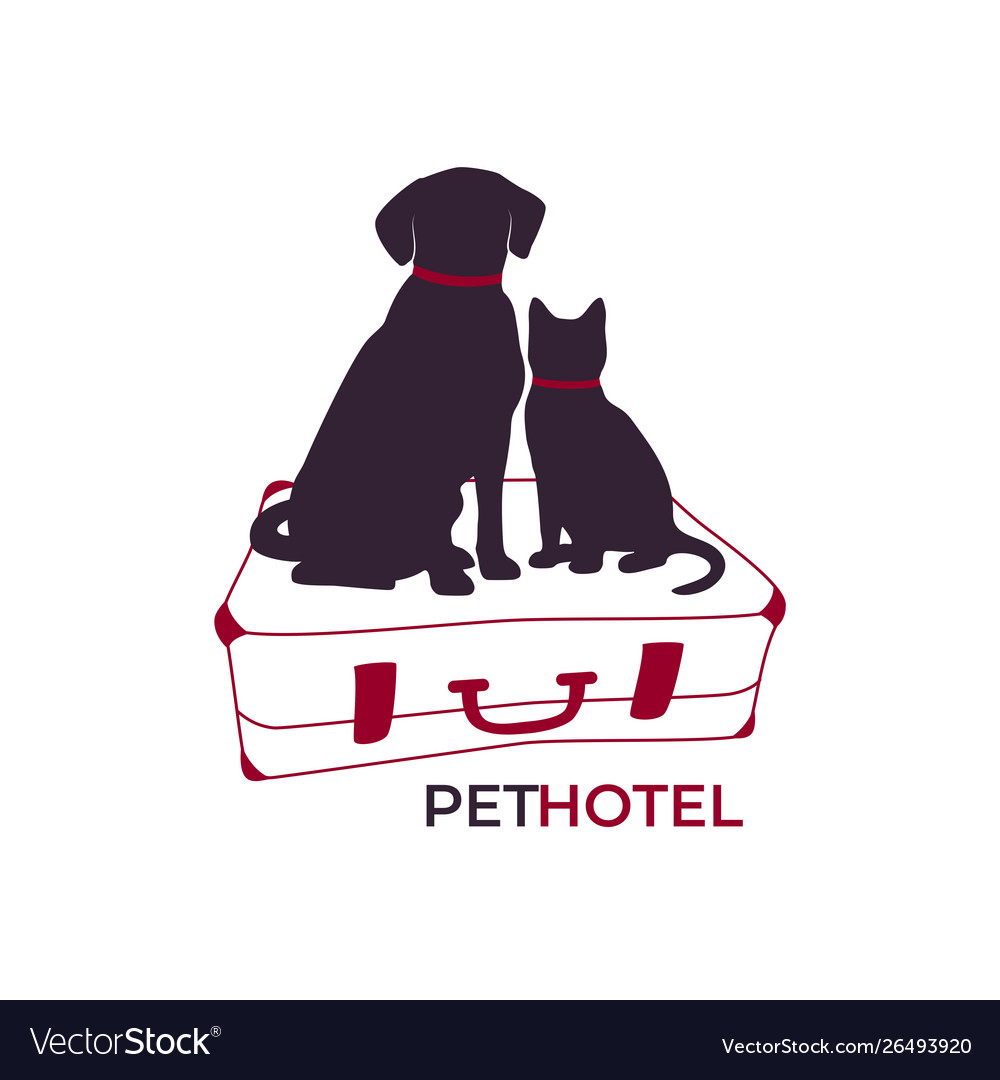 Dog and cat sitting on a suitcase pet hotel icon