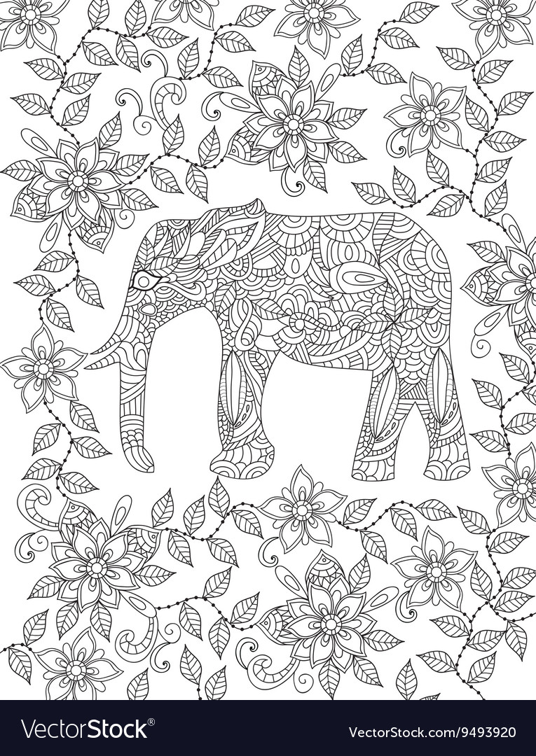 Elephant coloring page Royalty Free Vector Image