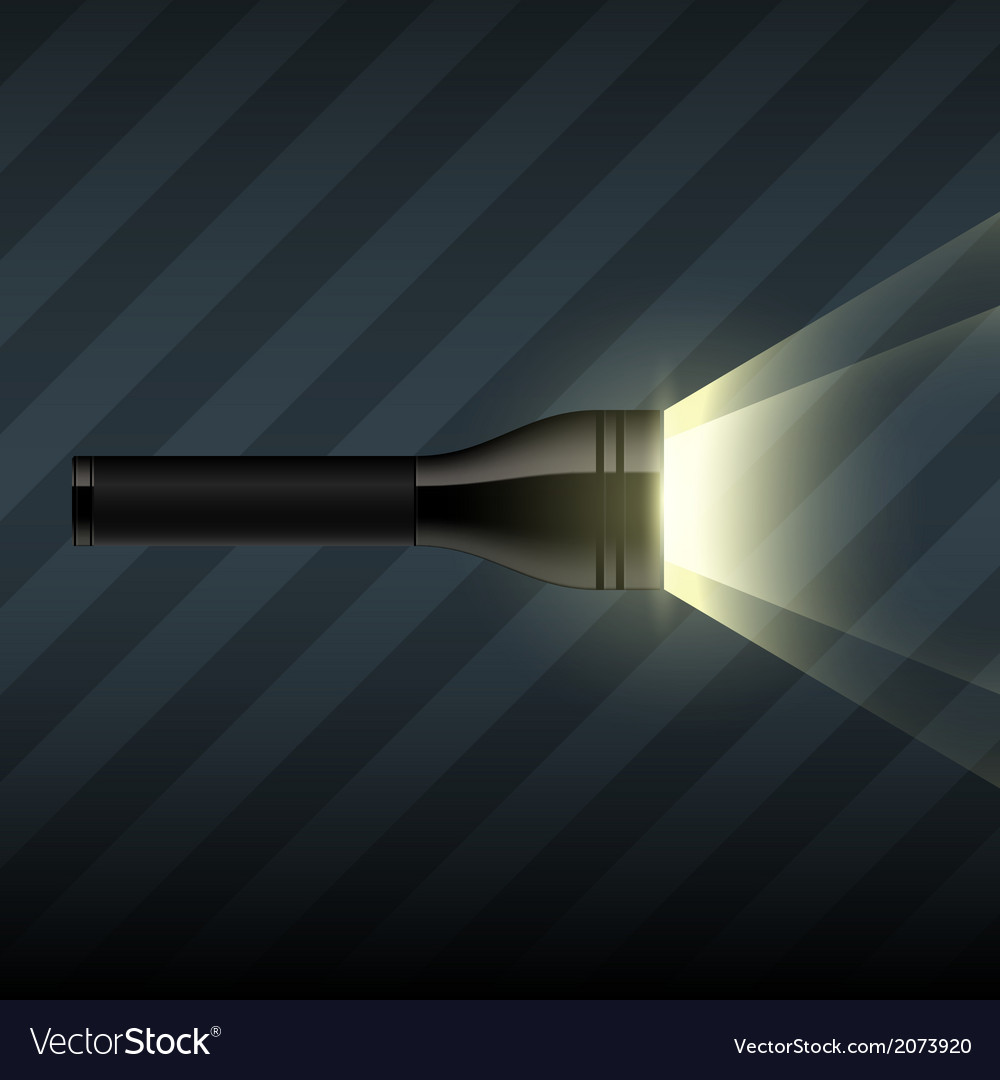 Flashlight on dark striped background