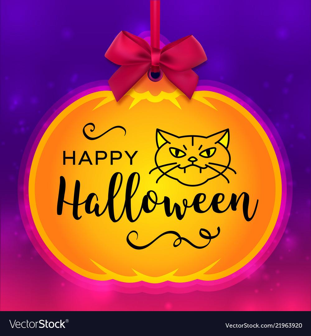 Happy halloween card pumpkin tag and bright