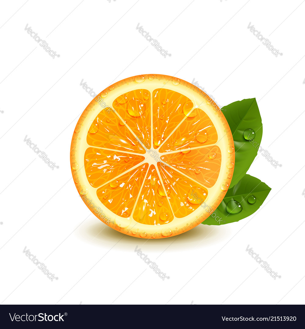 Juicy orange with green leaves