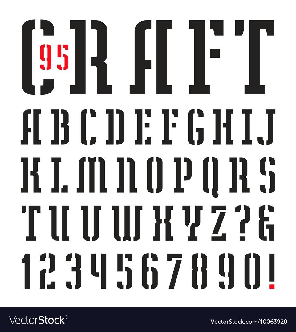 Narrow stencil plate serif font