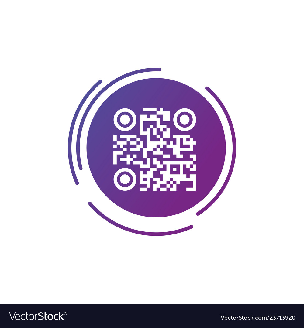 Qr code sign icon in purple gradient futuristic
