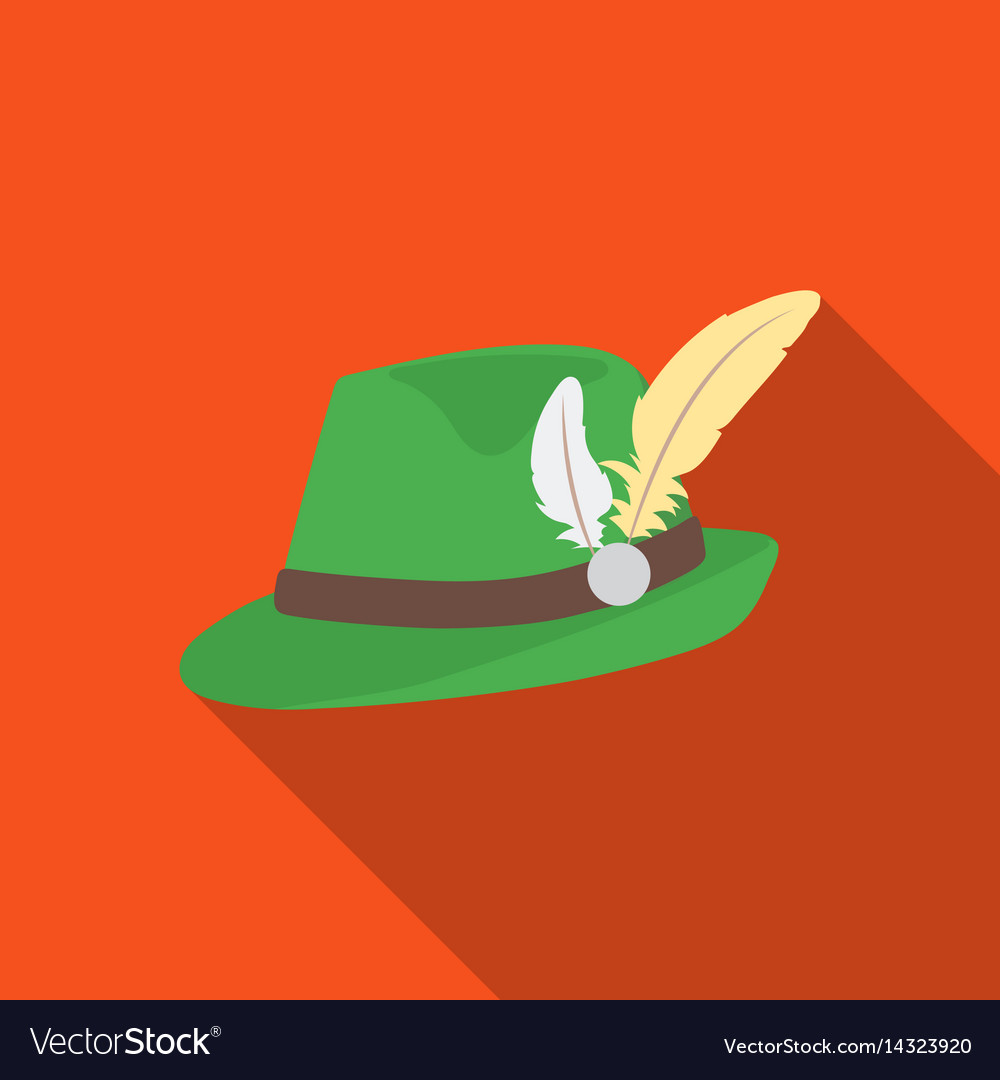 Tyrolean hat icon in flat style isolated on white