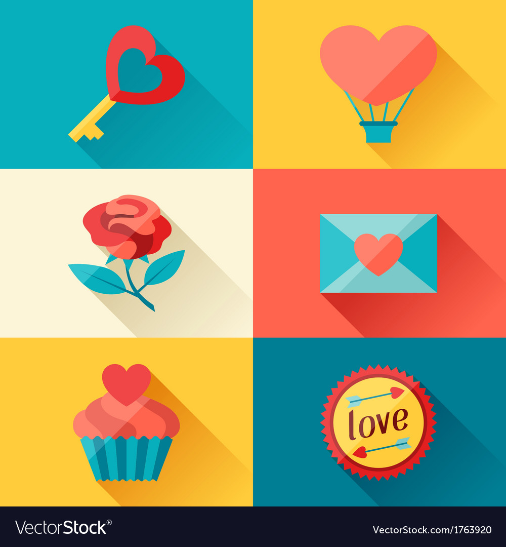Valentines and Wedding background in flat design vector image