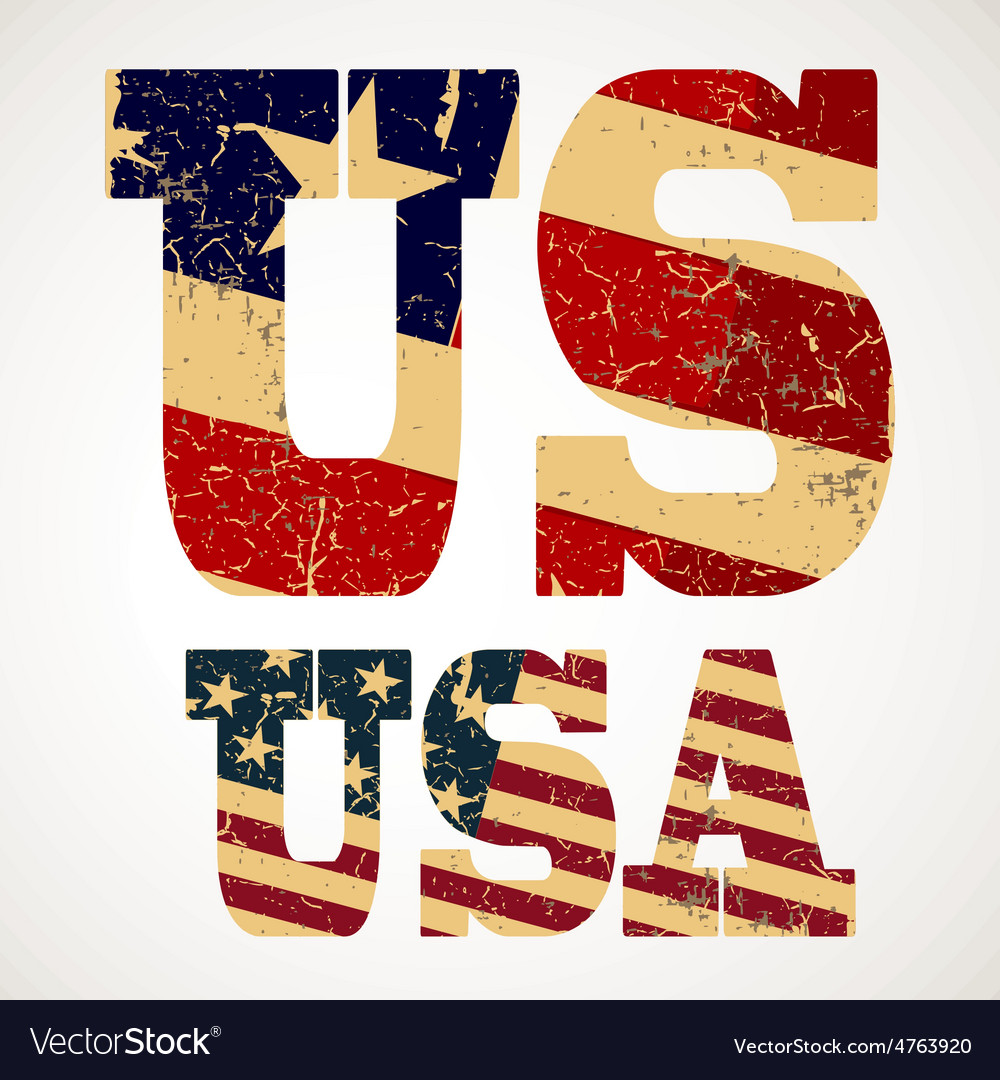 Vintage lettering US and USA flag
