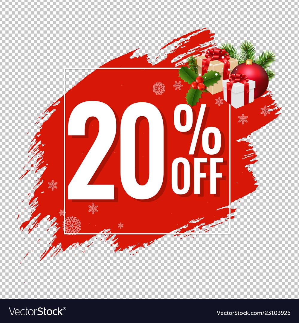 20 sale red blobs banner transparent background