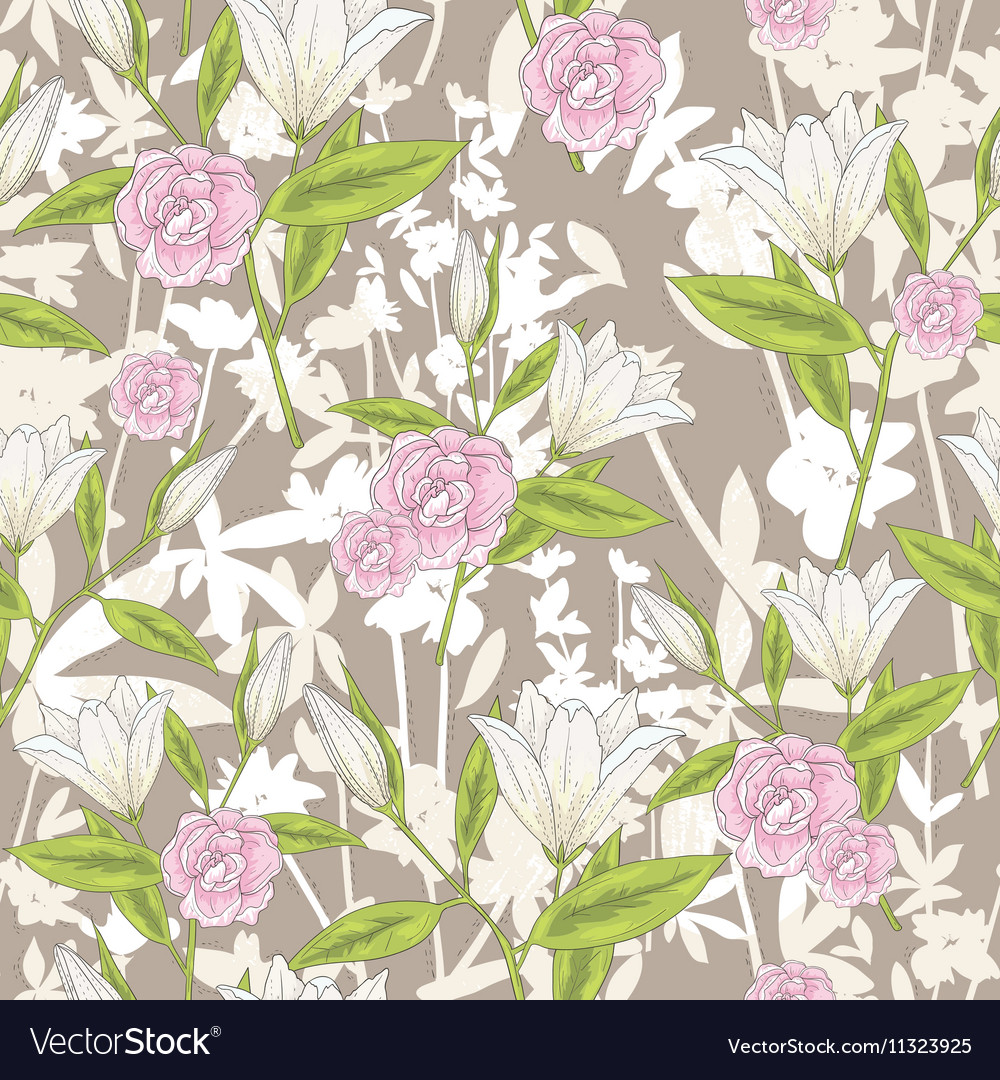 Background with lilly flowers and roses